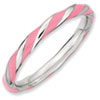 Stackable Expressions Sterling Silver Twisted  Pink Enameled 2.4 x 2.0mm Ring
