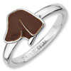 Stackable Expressions Sterling Silver Brown Enameled Dog Head Ring
