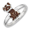 Stackable Expressions Sterling Silver Brown Enameled Dog Ring