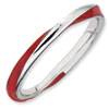 Stackable Expressions Sterling Silver Twisted Red Enameled 2.5 x 2.25mm Ring