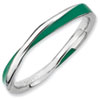 Stackable Expressions Sterling Silver Twisted Green Enameled 2.5 x 2.25mm Ring