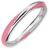 Stackable Expressions Sterling Silver Twisted  Pink Enameled 2.5 x 2.25mm Ring