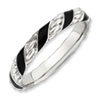 Stackable Expressions Sterling Silver Polished Black Enameled Ring