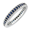 Stackable Expressions Polished Sterling Silver Created Sapphire Eternity Ring