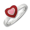 Stackable Expressions Sterling Silver Polished Enameled Hearts Ring