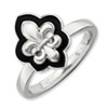 Stackable Expressions Sterling Silver Polished Enameled Fleur De Lis Ring
