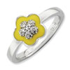 Stackable Expressions Sterling Silver Polished Yellow Enameled and CZ Ring