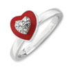 Stackable Expressions Sterling Silver Polished Enameled CZ Heart Ring