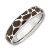 Stackable Expressions Sterling Silver Polished Enameled Animal Print Ring
