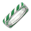 Stackable Expressions Polished Sterling Silver Green Enameled Square Ring