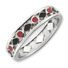 Black and Red Enameled Sterling Silver Stackable Ring