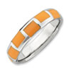 Stackable Expressions Sterling Silver Polished Orange Enameled Ring