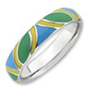 Stackable Expressions Sterling Silver Polished Multi-color Enameled Ring