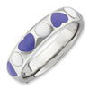 Stackable Expressions Sterling Silver Polished Purple and White Enameled Ring
