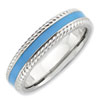 Stackable Expressions Polished Sterling Silver Blue Enameled Ring