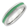 Stackable Expressions Polished Sterling Silver Green Enameled Ring