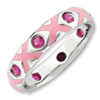 Pink Sterling Silver Created Ruby Stackable Ring