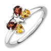 Stackable Expressions Polished Sterling Silver Citrine & Garnet Butterfly Ring