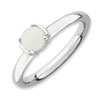 Stackable Expressions Polished Sterling Silver White Agate Ring