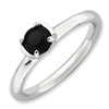 Stackable Expressions Polished Sterling Silver Black Agate Ring