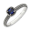 Stackable Expressions Polished Sterling Silver Created Sapphire Ring