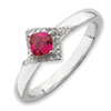 Stackable Expressions Polished Sterling Silver Created Ruby & Diamond Ring