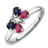 Stackable Expressions Sterling Silver Created Ruby & Created Sapphire Butterfly Ring
