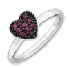 Stackable Expressions Sterling Silver Created Ruby Heart Ring