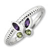 Stackable Expressions Sterling Silver Amethyst & Peridot Butterfly Ring