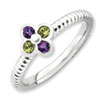 Stackable Expressions Sterling Silver Amethyst & Peridot Flower Ring