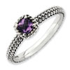 Stackable Expressions Sterling Silver Checker-cut Amethyst Antiqued Ring