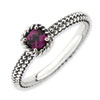 Stackable Expressions Sterling Silver Checker-cut Rhodolite Garnet Antiqued