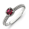Stackable Expressions Sterling Silver Checker-cut Created Ruby Antiqued Ring