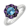 Stackable Expressions Sterling Silver Amethyst and Blue Topaz Ring