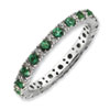 Stackable Expressions Polished Sterling Silver Created Emerald & Diamond Ring