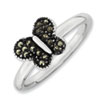 Stackable Expressions Sterling Silver Marcasite Butterfly Ring