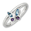 Stackable Expressions Sterling Silver Amethyst & Blue Topaz Butterfly Ring