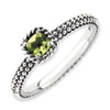 Stackable Expressions Sterling Silver Checker-cut Peridot Antiqued Ring