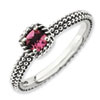 Stackable Expressions Sterling Silver Checker-cut Pink Tourmaline Antiqued Ring