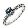 Stackable Expressions Sterling Silver Checker-cut Blue Topaz Antiqued Ring