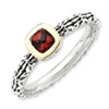 Stackable Expressions Sterling Silver & 14k Checker-cut Garnet Antiqued Ring