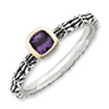 Stackable Expressions Sterling Silver & 14k Checker-cut Amethyst Antiqued Ring