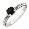 Stackable Expressions Sterling Silver & 14k Onyx Antiqued Ring