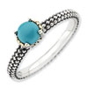 Stackable Expressions Sterling Silver & 14k Turquoise Antiqued Ring