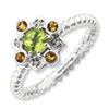 Stackable Expressions Sterling Silver Peridot, Citrine & Diamond Ring