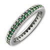 Stackable Expressions Polished Sterling Silver Created Emerald Eternity Ring