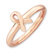 Stackable Expressions Sterling Silver Pink-plated Awareness Ribbon Ring