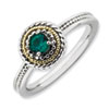 Stackable Expressions Sterling Silver & 14k Created Emerald Ring