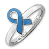 Stackable Expressions Sterling Silver Blue Enameled Awareness Ribbon Ring