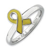 Stackable Expressions Sterling Silver Yellow Enameled Awareness Ribbon Ring